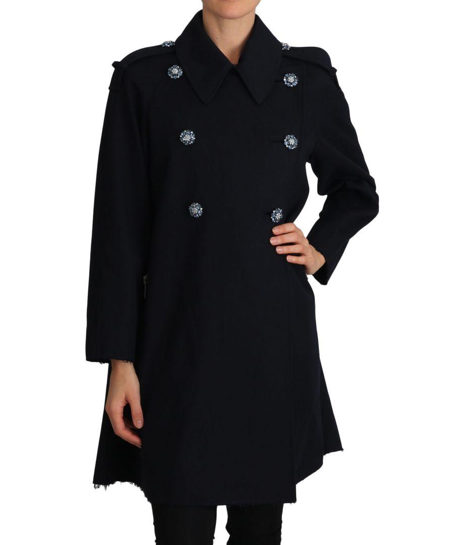Image for Dolce & Gabbana Black Trench Crystal Embellished Jacket