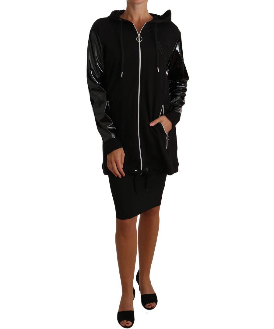 Image for Versace Jeans Black Zip Parka Coat Hood Jacket