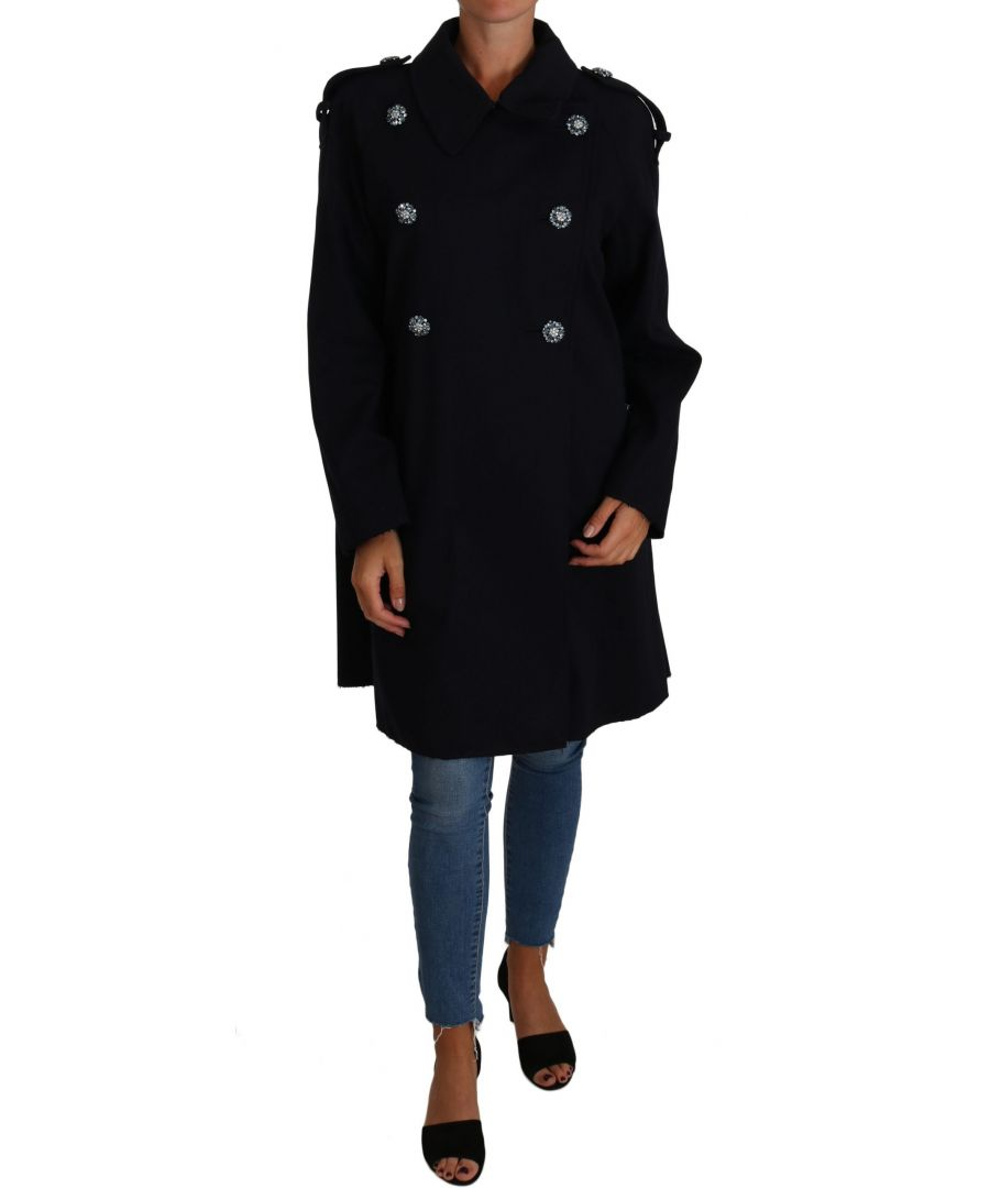 Image for Dolce & Gabbana Black Crystal Buttons Trench A-Line Jacket Coat