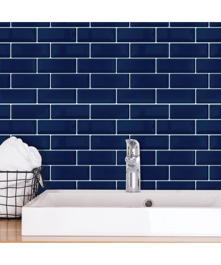 Image for Deep Blue Glossy 3D Sticker Tile 30 x 15cm - 12 pcs 3D Tiles Wall Stickers, Kitchen, Bathroom, Living room, peel and stick