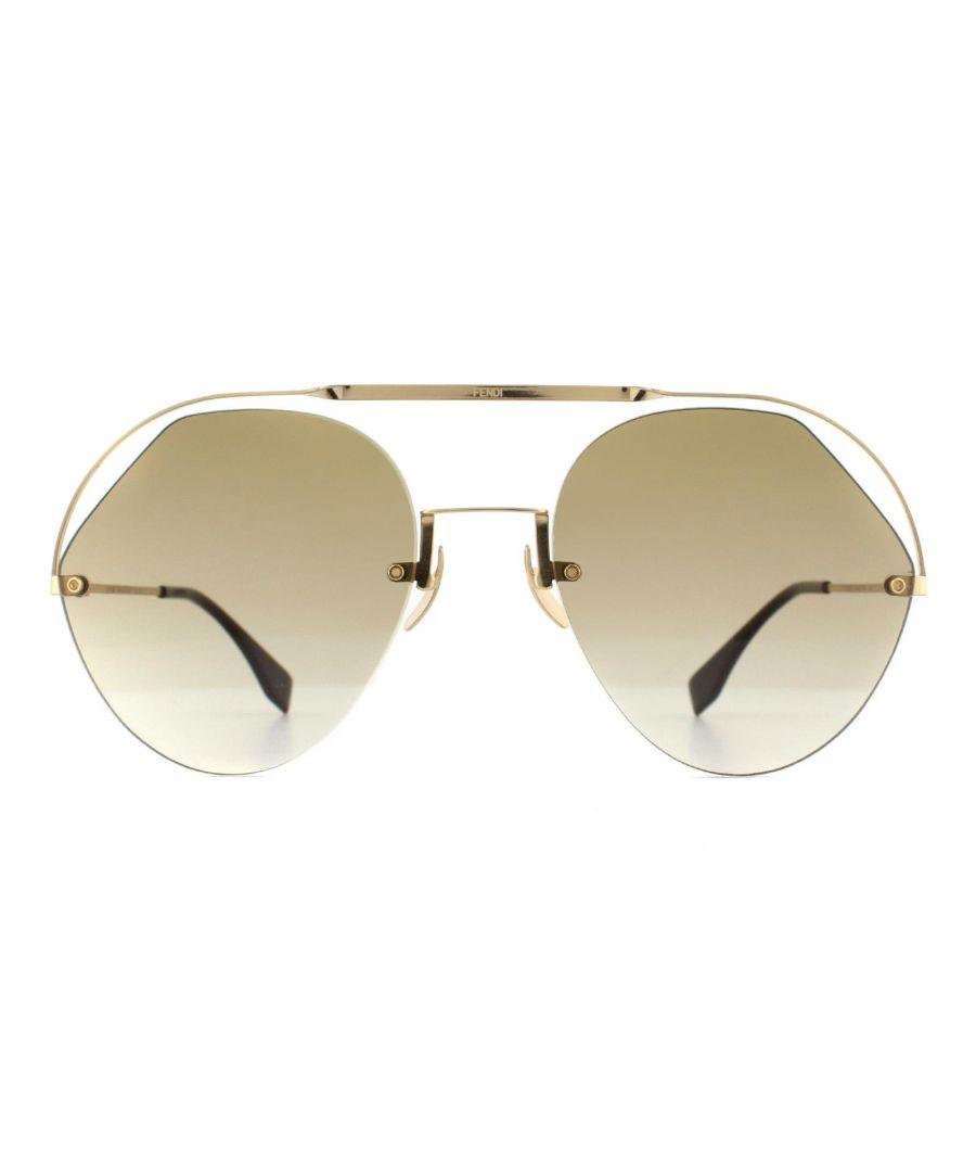Image for Fendi Sunglasses FF 0326/S 09Q HA Gold Brown Gradient