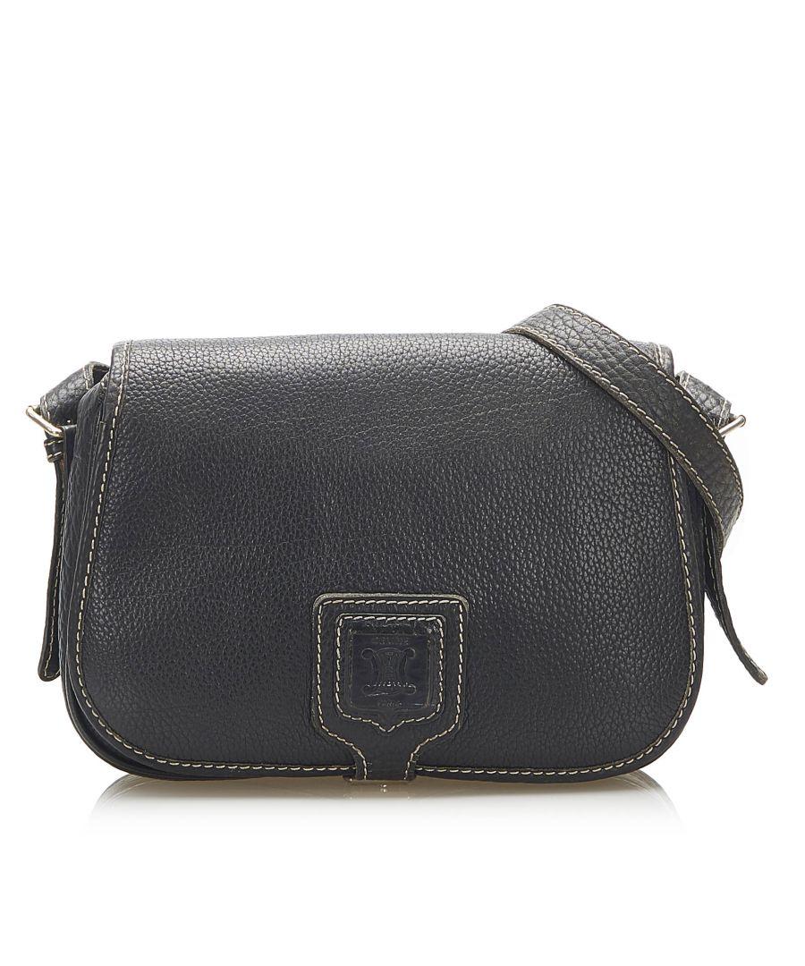 Image for Vintage Celine Leather Crossbody Bag Black