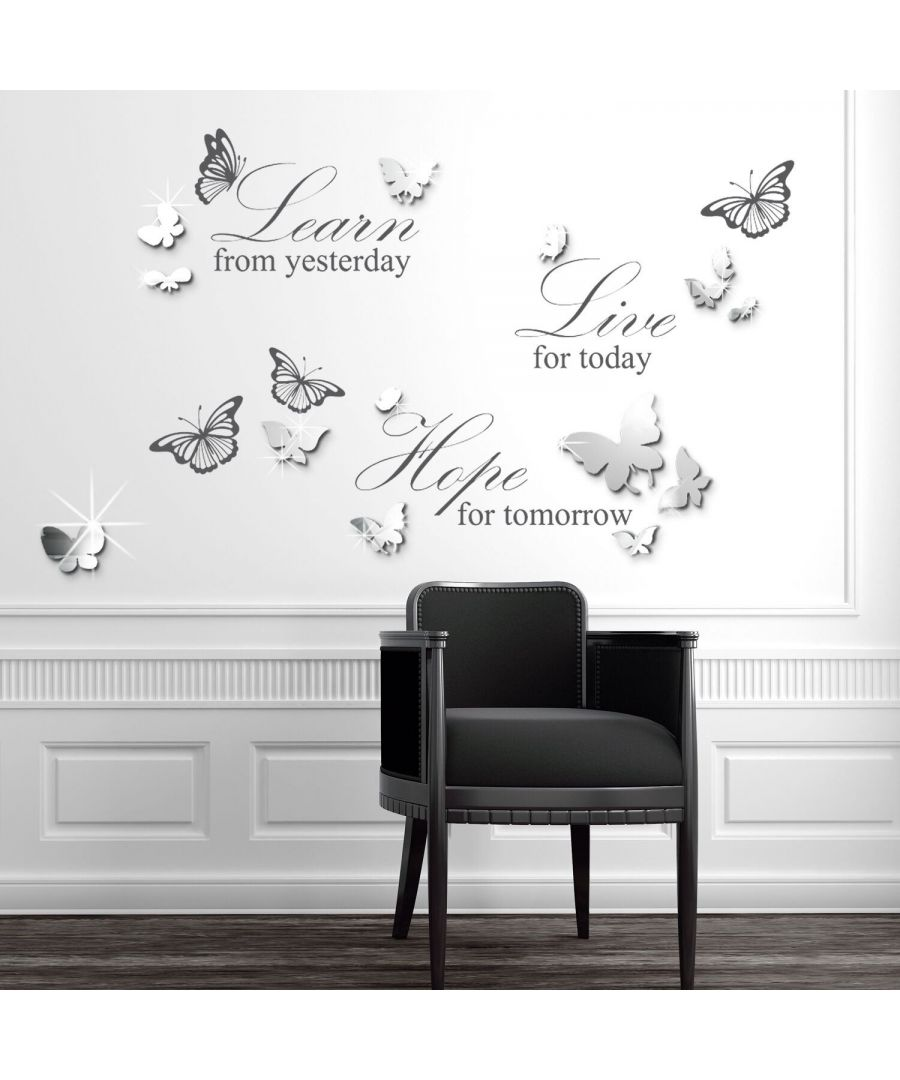 Image for 14 Mirror Butterflies Wall Art + Live Learn Hope Wall Stickers, Kitchen, Bathroom, Living room, Self-adhesive, Decal, Butterflies Decoration