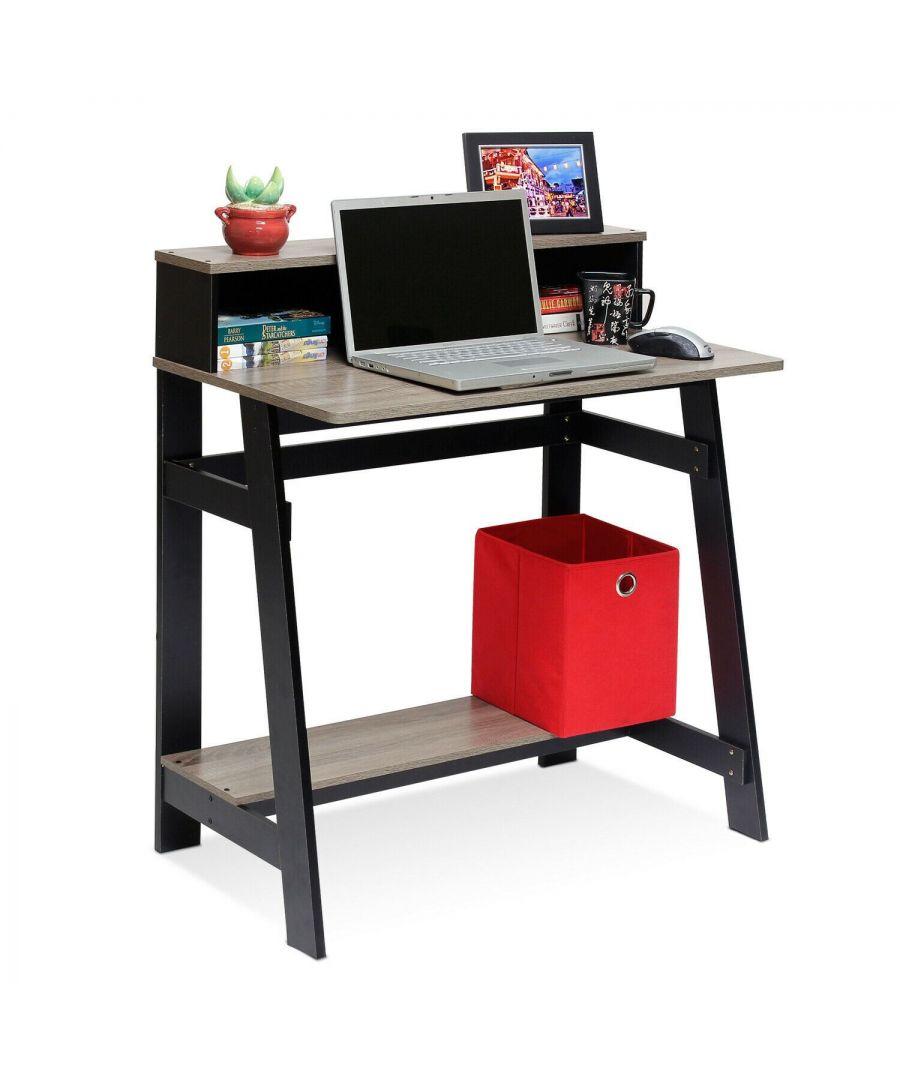 Image for Furinno Simplistic A Frame Computer Desk, Black/French Oak Grey