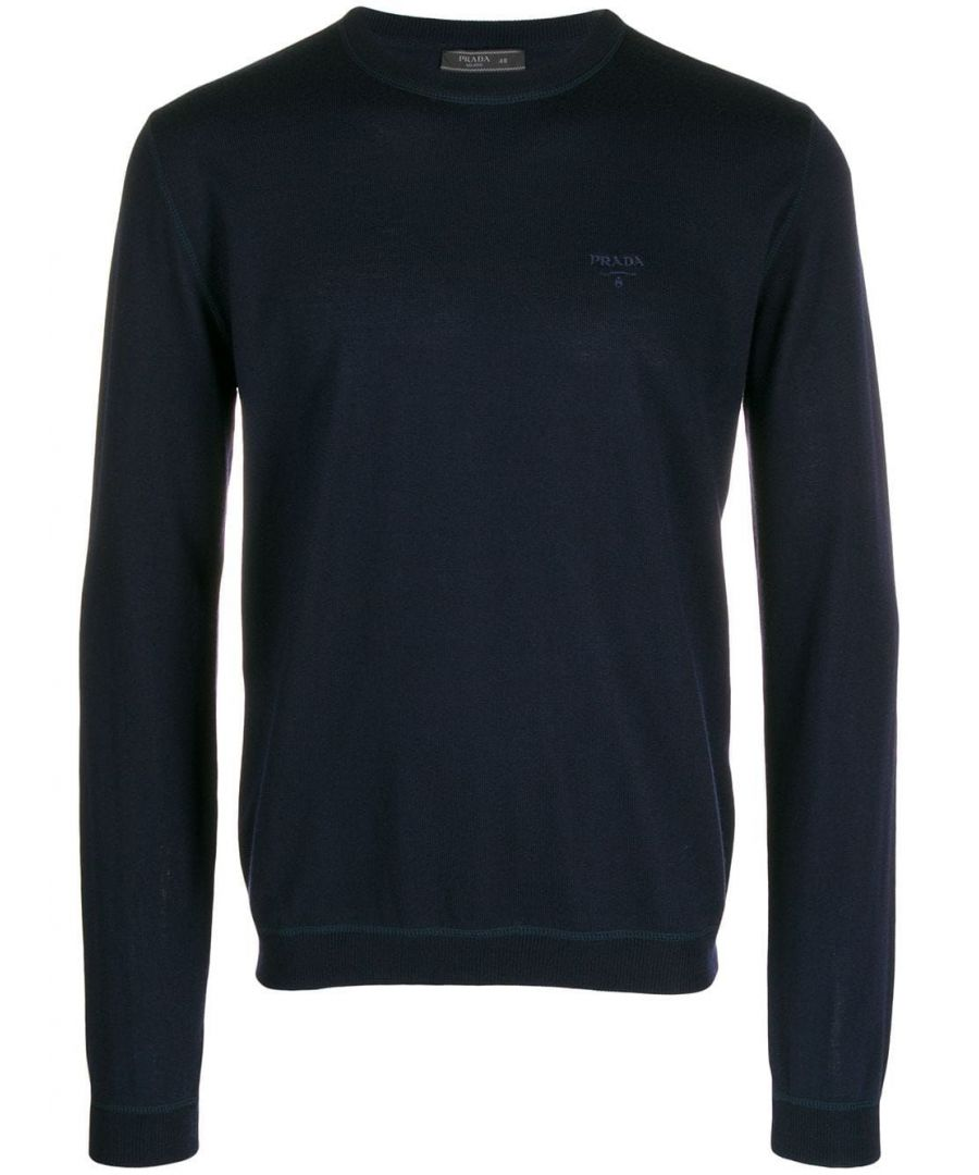 Image for PRADA MEN'S UMA972S1921S2PF0008 BLUE WOOL SWEATER