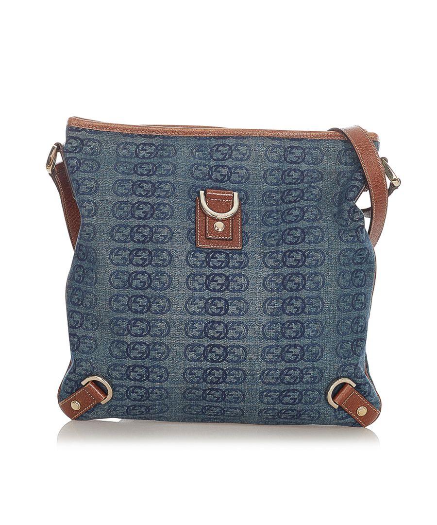 Image for Vintage Gucci Abbey D-Ring Denim Crossbody Bag Blue