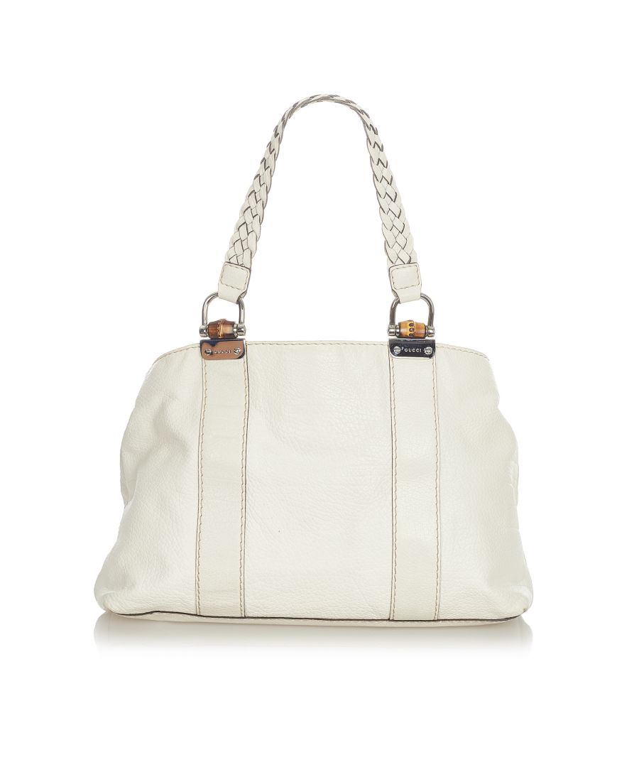 Image for Vintage Gucci Bamboo Bar Leather Tote Bag White
