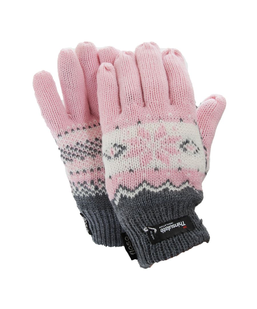 Image for FLOSO Ladies/Womens Thinsulate Fairisle Thermal Gloves (3M 40g) (Pink)