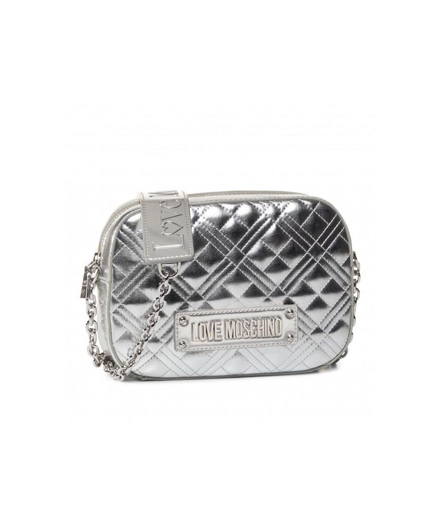 Image for Love Moschino Quilted Small Cross Body Bag in Silver