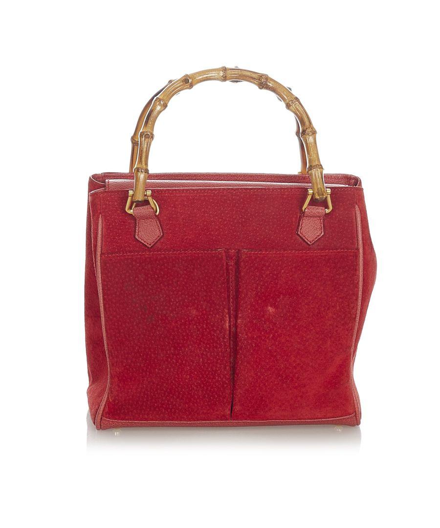 Image for Vintage Gucci Bamboo Suede Handbag Red