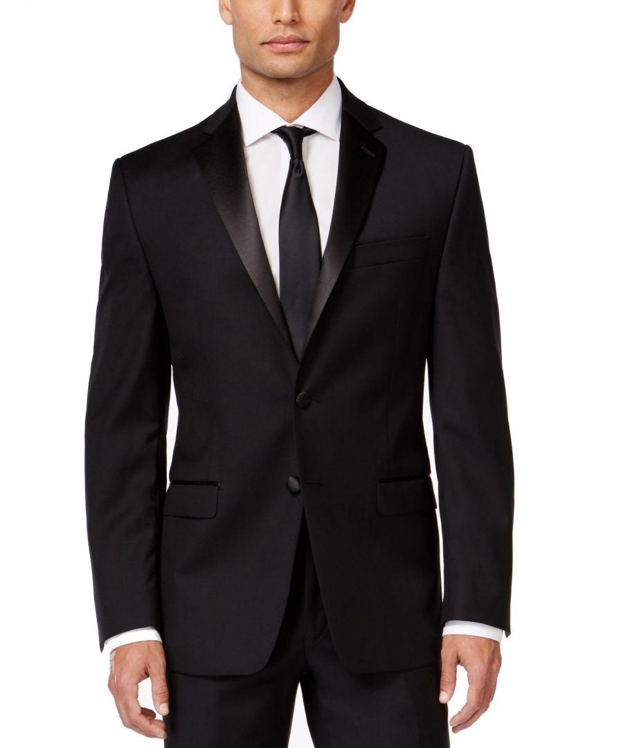 Image for Calvin Klein Mens Tuxedo Jacket Black Size 36 Two Button Satin Wool
