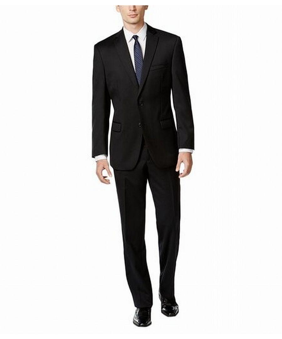 Image for Calvin Klein Mens Black Size 40 Short Two Button Wool Pant Suit Set