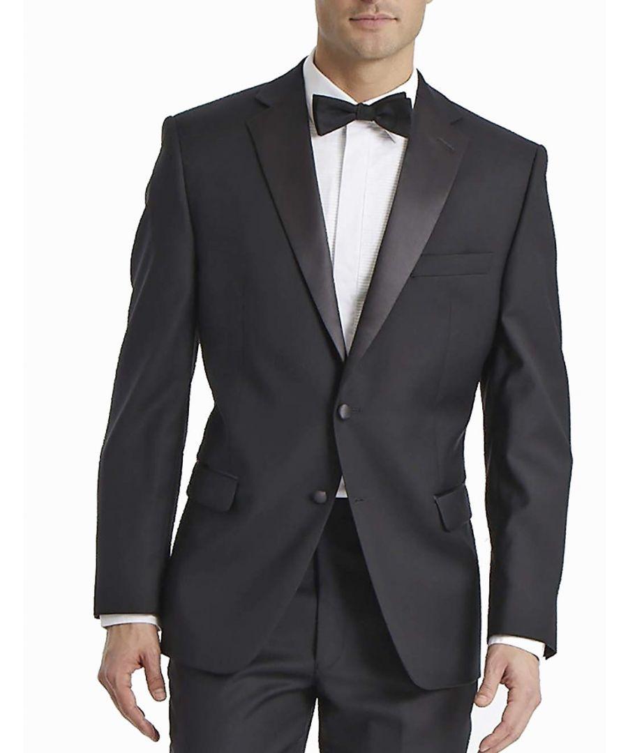 Image for Calvin Klein Mens Blazer Black Size 50 Two-Button Slim Tuxedo Wool