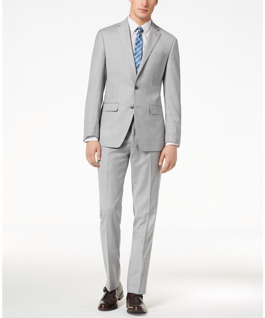 Image for Calvin Klein Mens Suit Gray Size 44 Short 2 Piece Wool Blazer Pants
