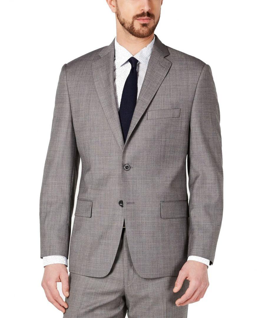 Image for Michael Kors Mens Blazer Blue Gray Size 38 Short Wool Kris Two-Button