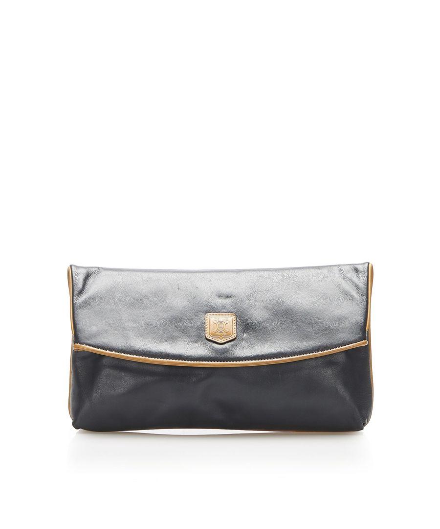 Image for Vintage Celine Leather Clutch Bag Black
