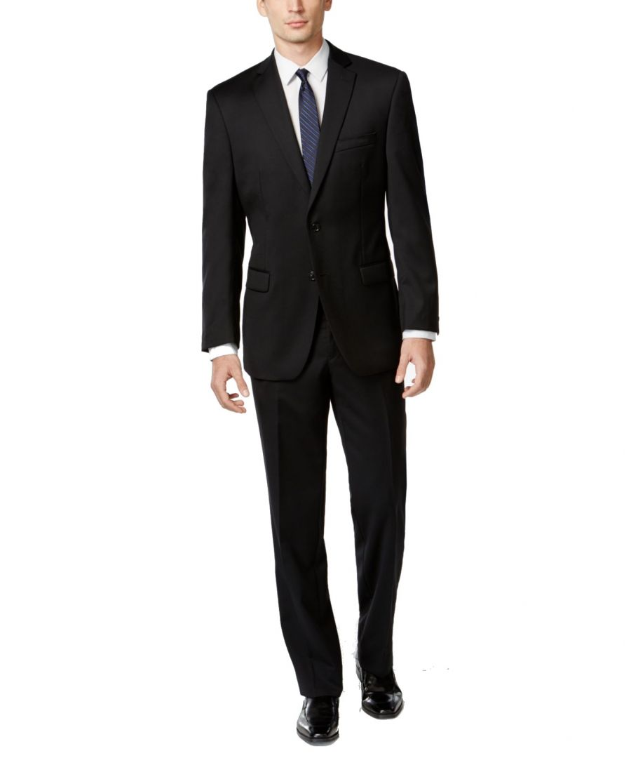 Image for Calvin Klein Solid Black Mens Size 46 Two Button Wool Stretch Suit