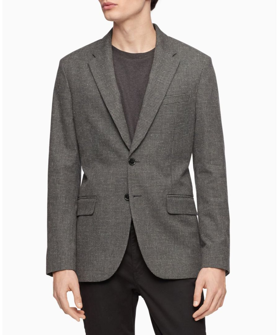 Image for Calvin Klein Mens Sport Coat Gray Size 2XL Slim Fit Printed Two-Button
