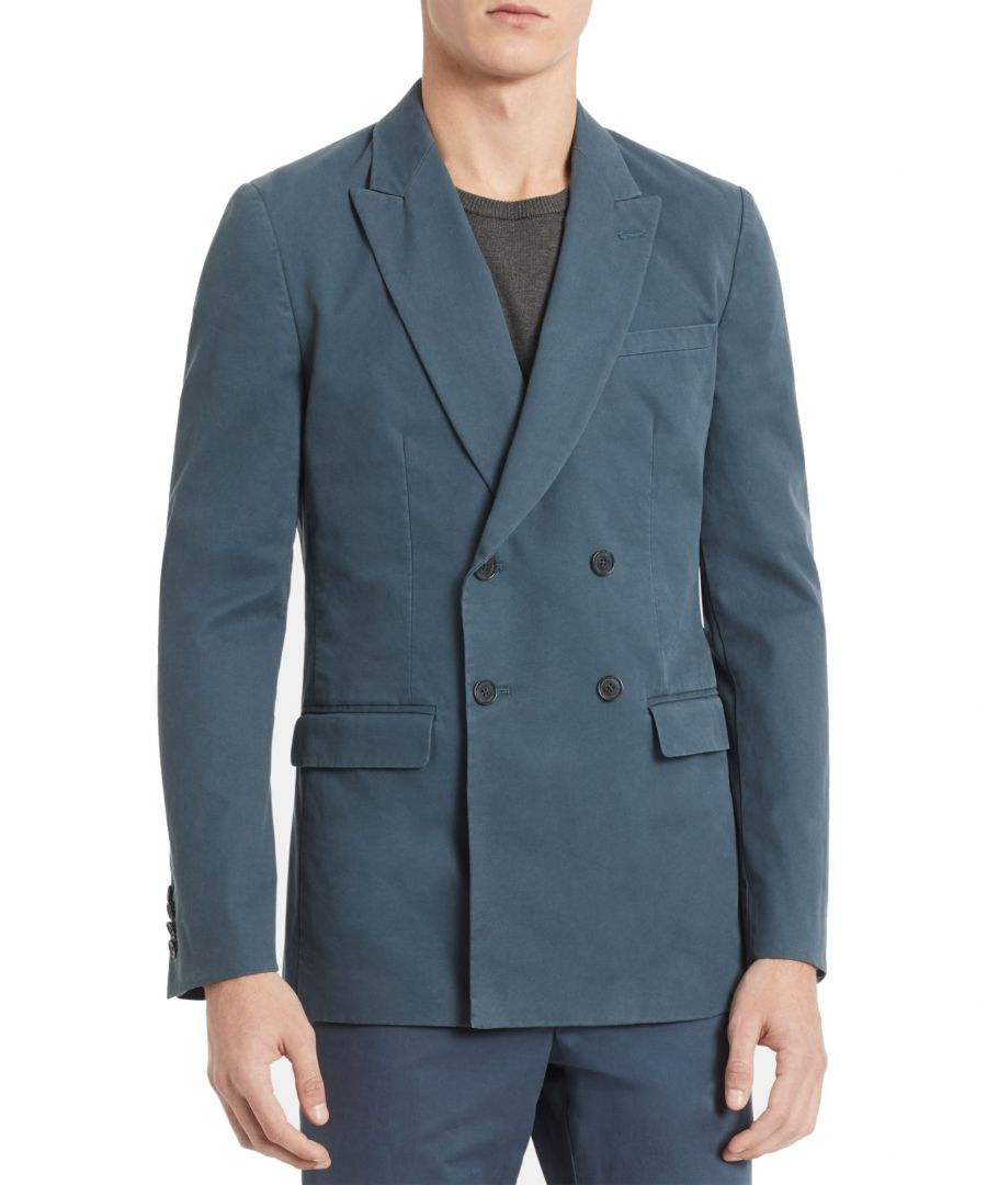 Image for Calvin Klein Mens Sport Coat Blue Size Small S Weekday Double Breasted