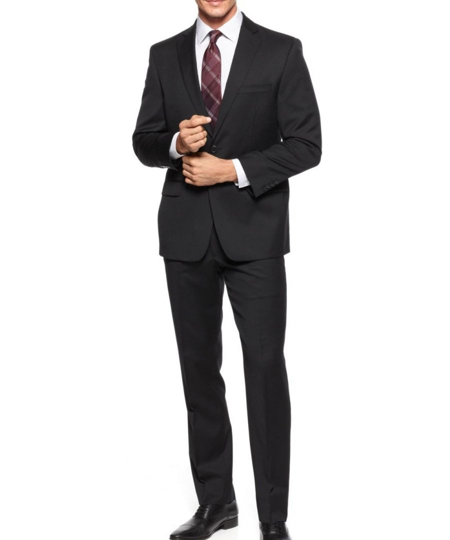 Image for Calvin Klein Mens Pant Suit Black Size 42 Reg Two Button Wool Mitchell