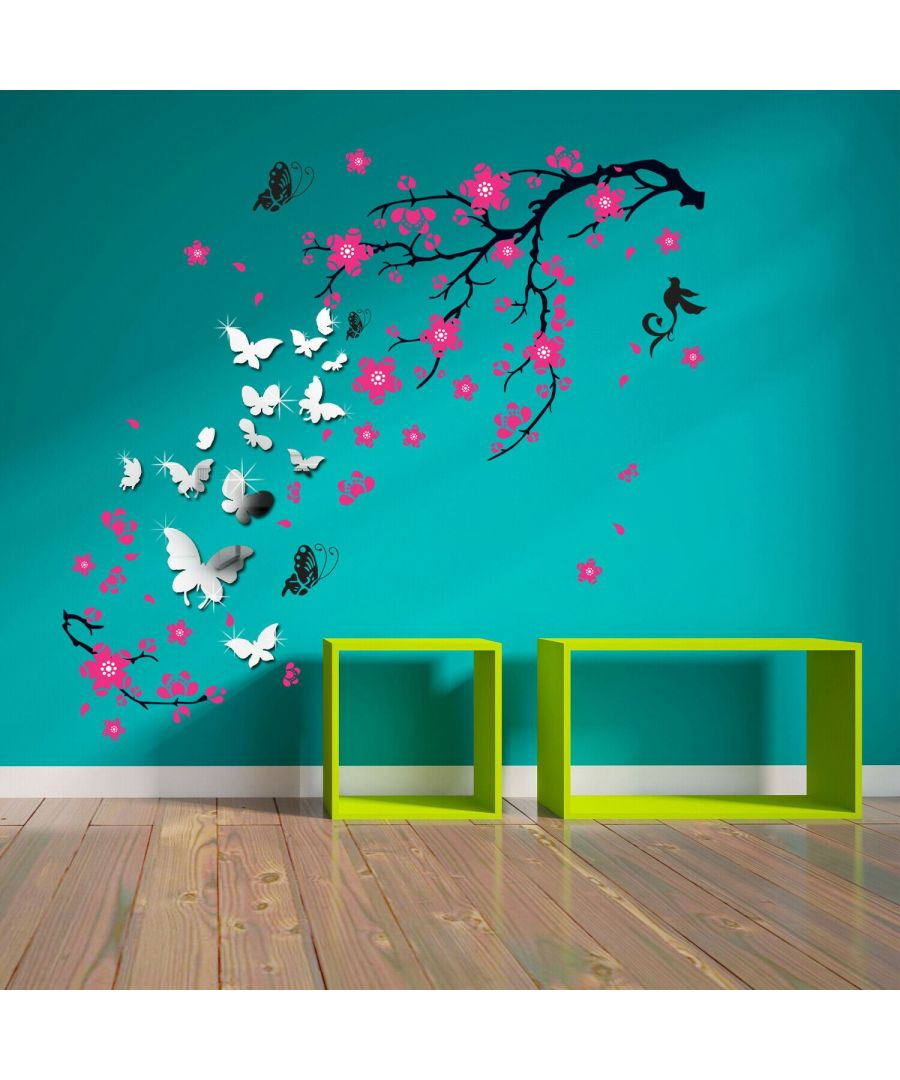 Image for 14 Mirror Butterflies Wall Art + Pink Blossom Flowers, Peel and Stick, self-adhesive, Living Room Wall Sticker