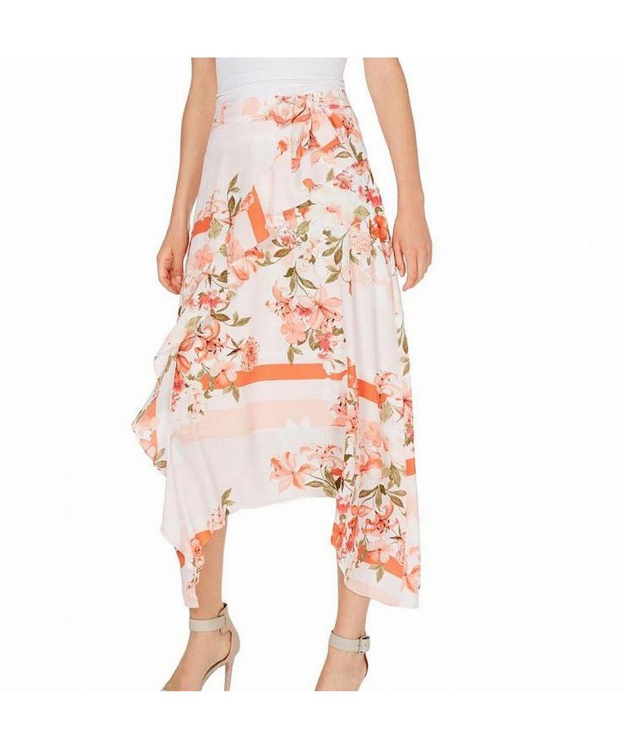 Image for Calvin Klein Women's Skirt Pink Size 8 Ruffle Floral Handkerchief Maxi
