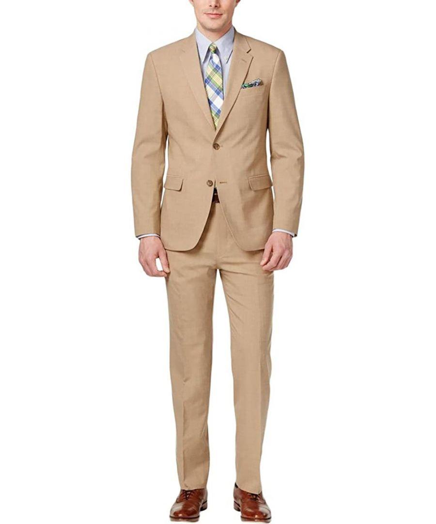 Image for Tommy Hilfiger Mens Suit Set Tan Beige Size 42 Short  2 Piece Wool