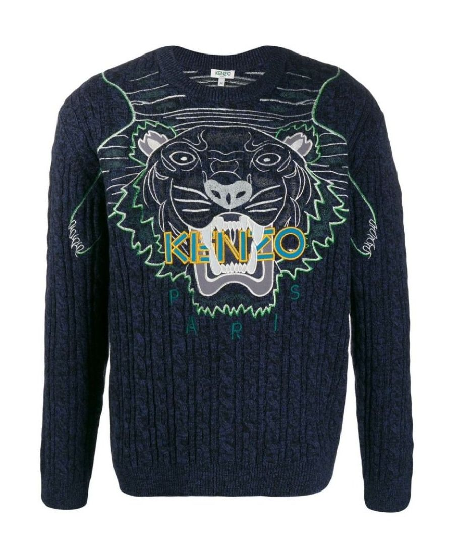 Image for KENZO MEN'S F965PU2513XE76 BLUE WOOL SWEATER