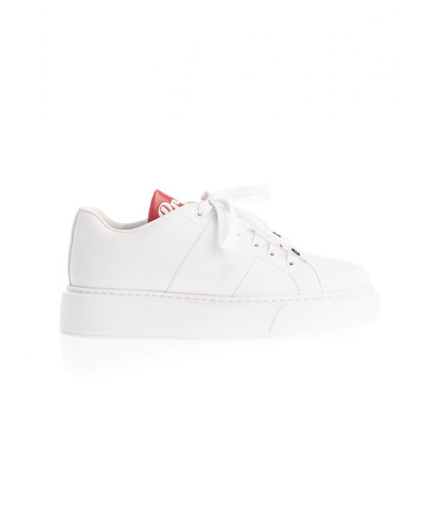 Image for PRADA WOMEN'S 1E368LF0453KWGF0970 WHITE LEATHER SNEAKERS