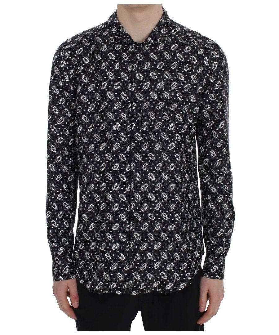 Image for Dolce & Gabbana Black Floral Print Silk Pajama Shirt