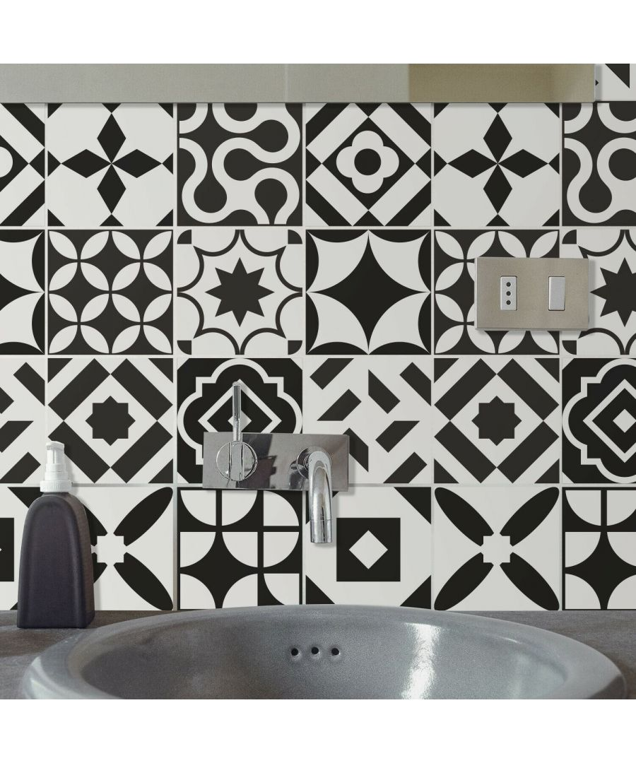 Image for Ross Black and White Wall Tile Sticker Set - 15 x 15 cm (6 x 6 in) - 24 pcs Tiles Wall Stickers, Kitchen, Bathroom, Living room