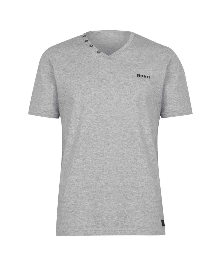 Image for Firetrap Mens Striding V Neck T Shirt Short Sleeves 100% Cotton Soft Top Tee