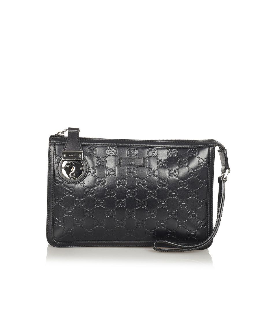 Image for Vintage Gucci Guccissima Clutch Bag Black
