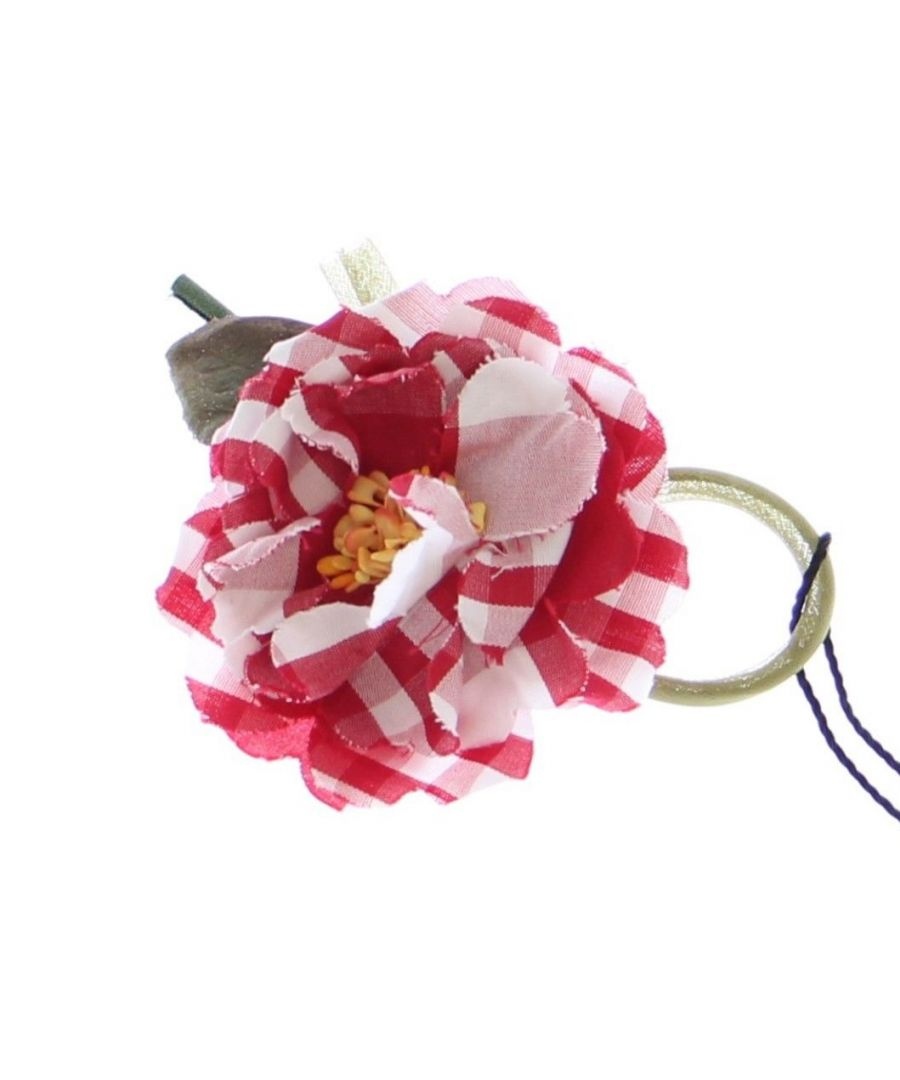 Image for Dolce & Gabbana Red Checkered Flower Cotton Brooch