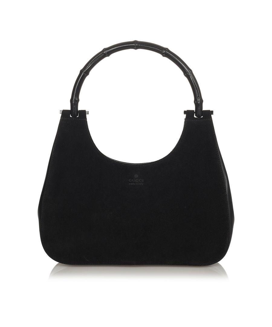 Image for Vintage Gucci Bamboo Suede Shoulder Bag Black