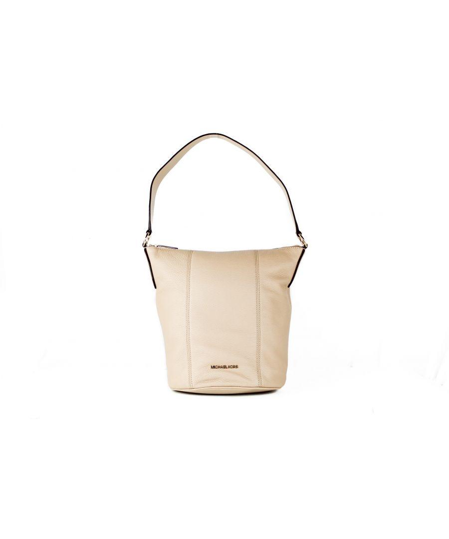Image for Michael Kors Brooke Medium Pebbled Leather Bucket Messenger Crossbody Handbag (Bisque)