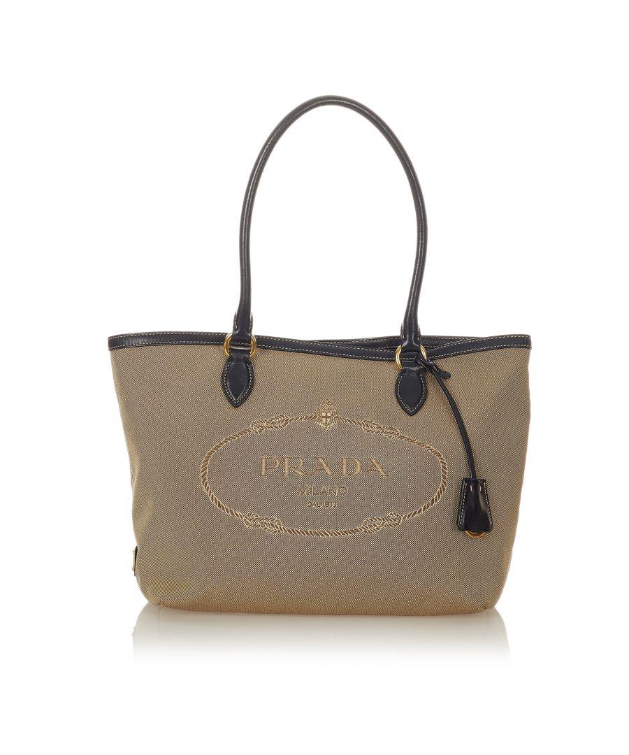 Image for Vintage Prada Canapa Canvas Tote Bag Brown