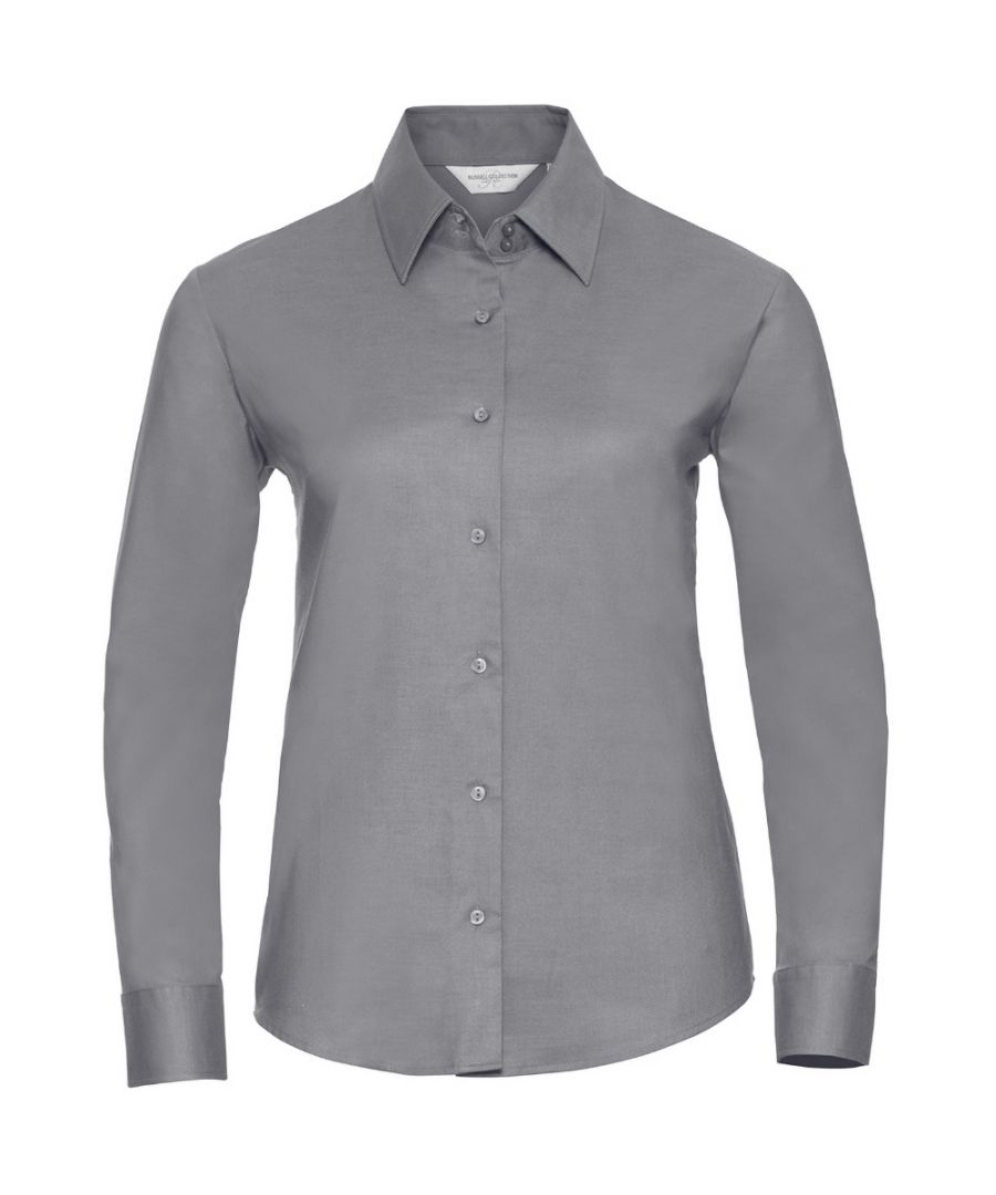 Image for Russell Collection Women's Long Sleeve Easy Care Oxford Shirt (Silver)
