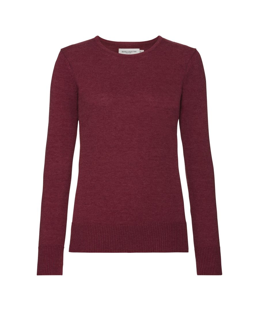 Image for Russell Collection Women's Crew Neck Knitted Pullover Sweatshirt (Cranberry Marl)