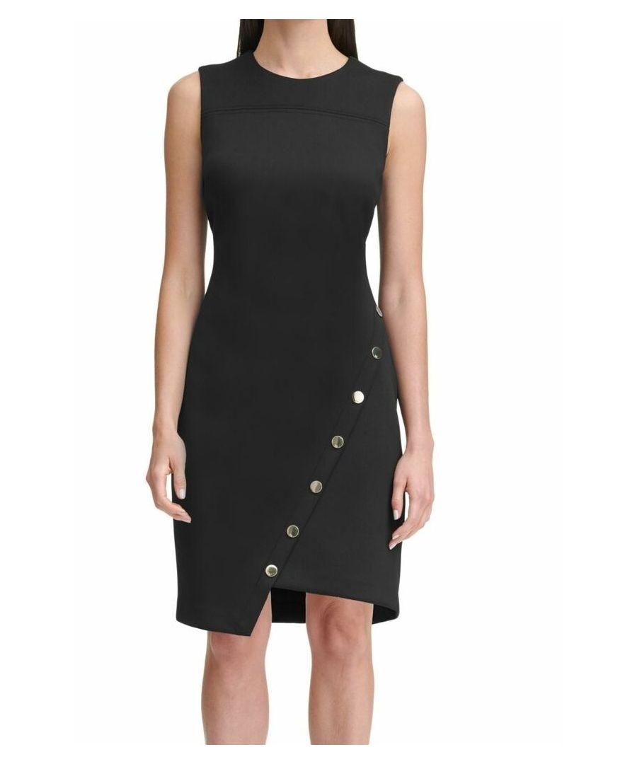 Image for Tommy Hilfiger Women's Dress Black Size 10 Sheath Asymmetric Button Hem