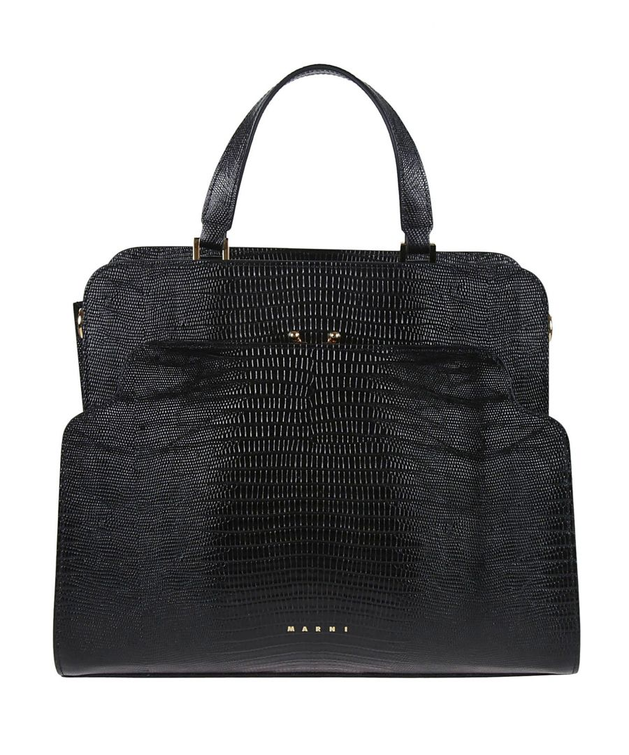 Image for MARNI WOMEN'S BMMP0025Y1P2988Z282N BLACK LEATHER TOTE