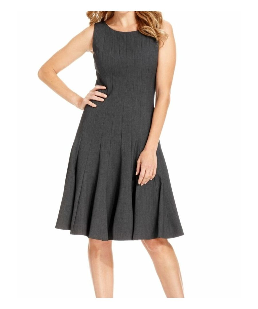 Image for Calvin Klein NEW Gray Women's 10P Petite Sheath Seamed Pleated Dress