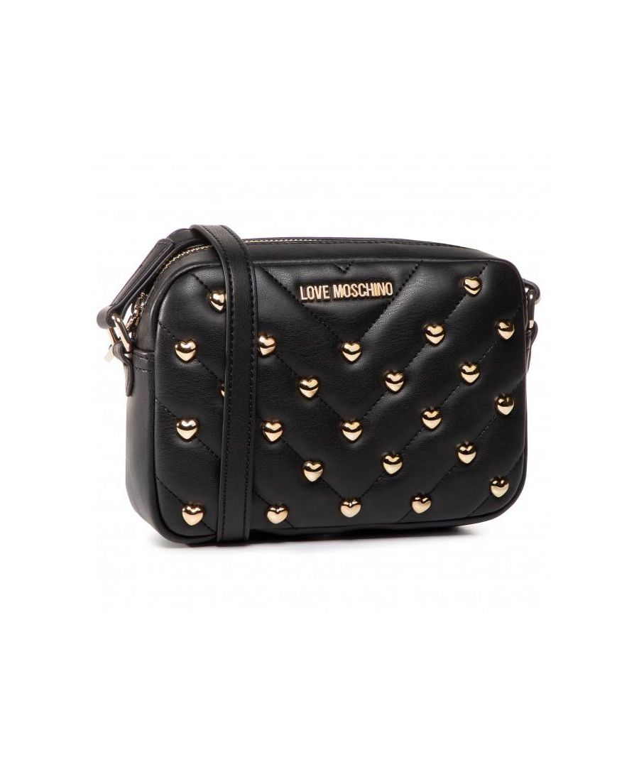 Image for Love Moschino Love Heart Studded Crossbody Bag in Black