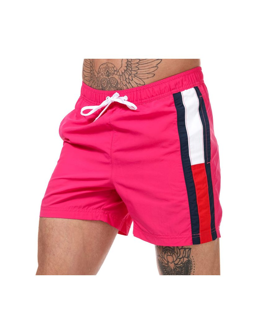 Image for Men's Tommy Hilfiger Colour-Blocked Slim Fit Swim Shorts in Pink