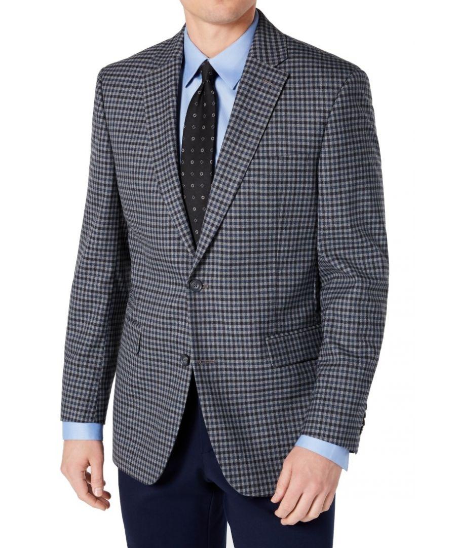 Image for Tommy Hilfiger Mens Blazer Blue Size 40 Gingham Notch Collar 2 Button