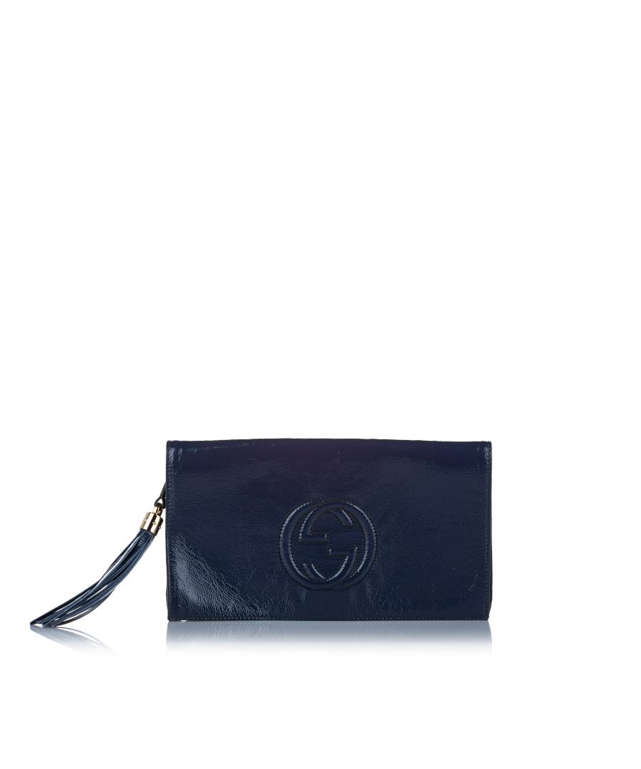 Image for Vintage Gucci Soho Disco Patent Leather Clutch Bag Blue
