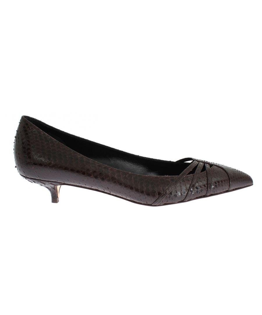 Image for Dolce & Gabbana Brown Snakeskin Kitten Heels Pumps