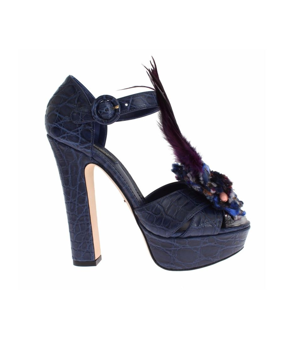 Image for Dolce & Gabbana Blue Caiman Crocodile Leather Crystal Shoes