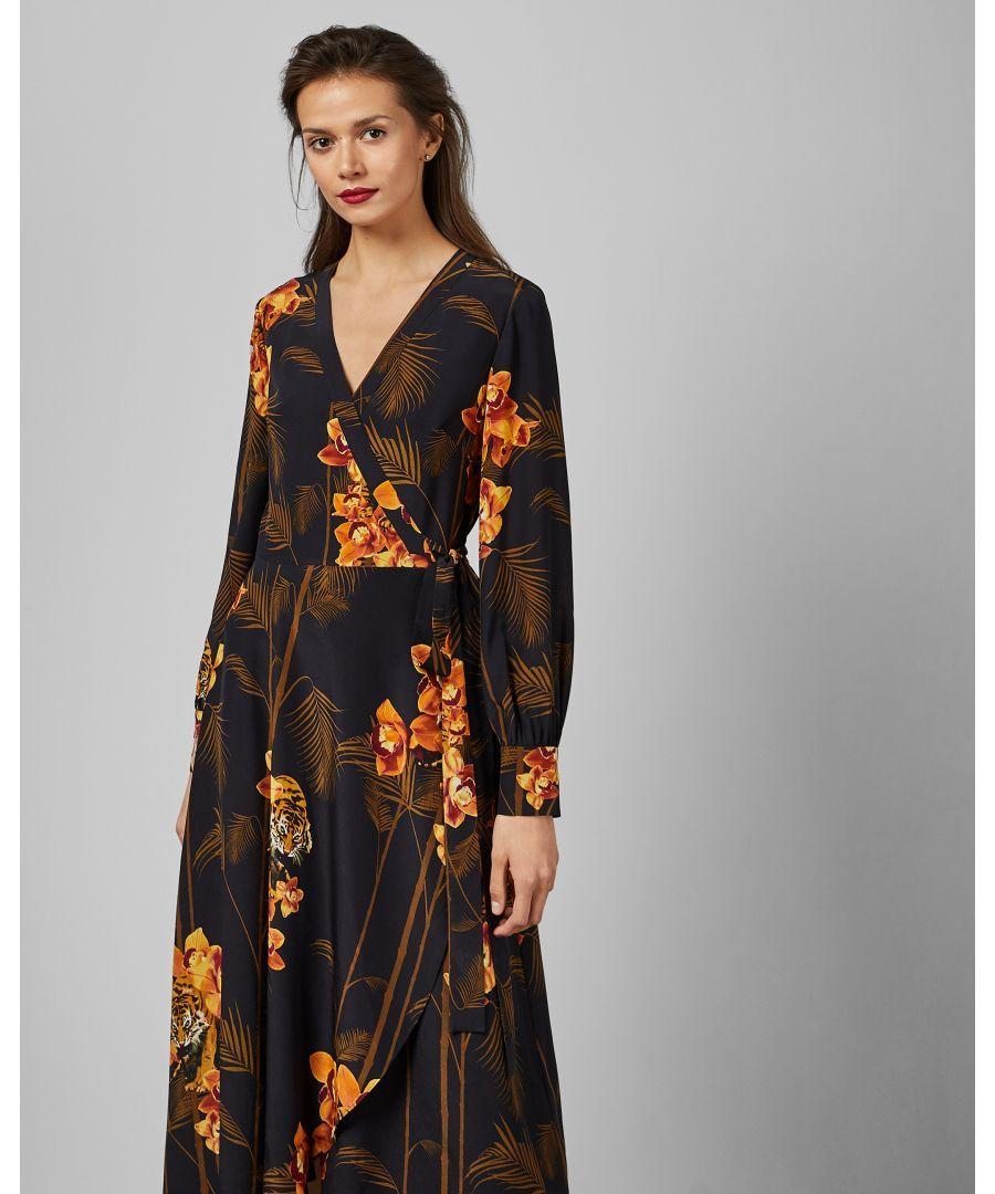 Image for Ted Baker Stela Caramel Printed Wrap Dress, Black