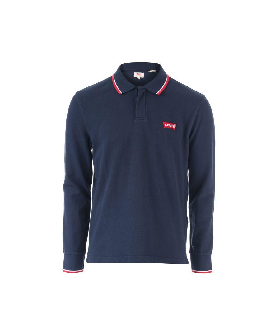 Image for Men's Levis Long Sleeve Modern Housemark Polo Shirt in Blue